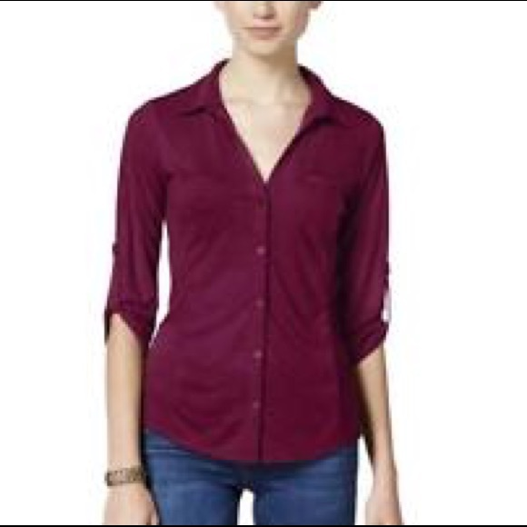 c4202a93 Almost Famous Tops | Burgundy Button Up Shirt | Poshmark